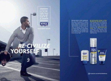 The offending advertisement with the tagline: Look like you give a damn, Re-civilise yourself