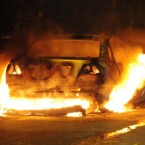 A car burns in Toxteth, Liverpool, last night. (Peter Byrne/PA Wire)