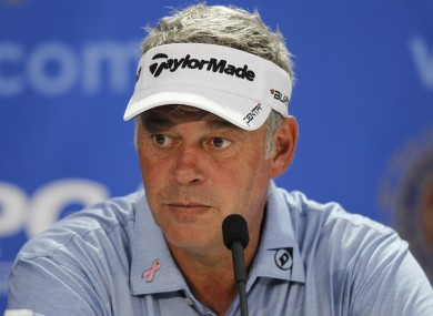 Darren Clarke faces the press in Atlanta yesterday.