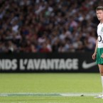 Fly-half Ronan O'Gara sizes up a penalty during Ireland's World Cup warm-up against France at the Stade Chaban-Delmas in Bordeaux on Saturday. Ireland eventually lost the game 19-12.