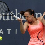 Jelena Jankovic in action during the Western &amp; Southern tennis tournament in Ohio on Wednesday. The following day, the Serb was delayed en route to the venue after her car ran out of petrol. 