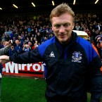Everton manager David Moyes takes to the field ahead of his team's friendly with Bohemians at Daleymount Park.