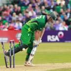 Ireland's Kevin O'Brien is bowled out during his side's ODI encounter with England at Clontarf Cricket Ground on Thursday.