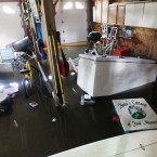 A refrigerator and other items float in Lechelle Spalding's flooded garage (AP Photo/Charles Dharapak)