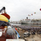 North Koreans gather to send off the North Korean leisure boat