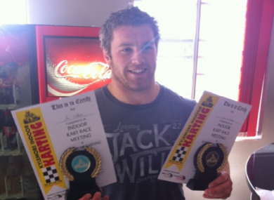 O'Brien with his latest awards, collected after go-karting with Tommy Bowe.
