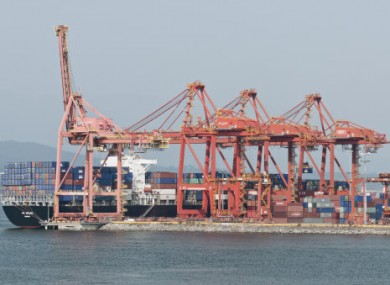 File photo of goods' containers in Dublin Docks