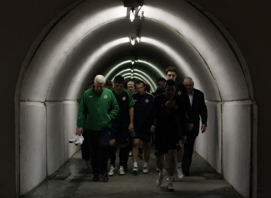 Nigel Wothington leads his side out of the tunnel.