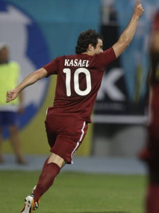 Rubin's Alan Kasaev celebrates scoring in his side's Champions League qualifier against Dynamo Kyiv earlier in the year.