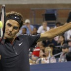 Roger Federer in action during his US Open fourth round match against Juan Monaco of Argentina.