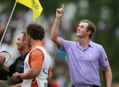 Webb Simpson celebrates after winning the Deutsche Bank Championship, but will it really count come Sunday evening?