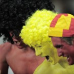 A group of Spanish fans watch their sides Euro 2012 qualifying soccer match against Liechtenstein.