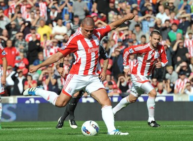 Walters scores the only goal of Stoke's win over Liverpool on Saturday.
