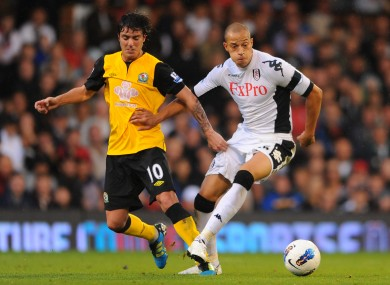 Fulham's Bobby Zamora and Blackburn Rovers' Mauro Formica.