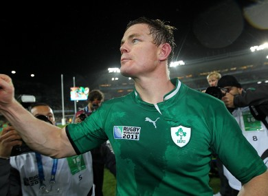Brian O'Driscoll celebrates after the game.