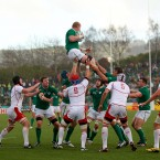 Ireland's Leo Cullen wins a line-out.