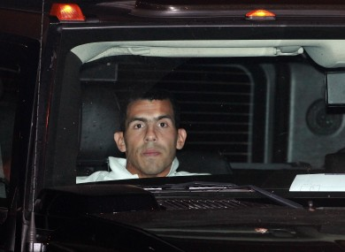 Tevez is given a police escort home after the match last night.