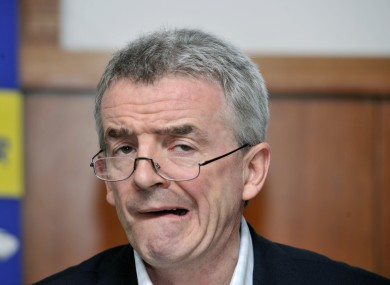 Ryanair chief Michael O'Leary pictured at the company's Annual General Meeting today.