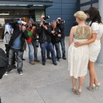 Sisters Georgina and Cecelia Ahern pose for photographers as they arrive for their father Bertie Ahern's 60th birthday party at Croke Park. Photo Leon Farrell/Photocall Ireland