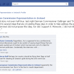 The offending comment appears on the European Commission Representation in Ireland's Facebook page at 12:39pm...