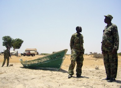 Security forces at a coast guard station in northern Somalia