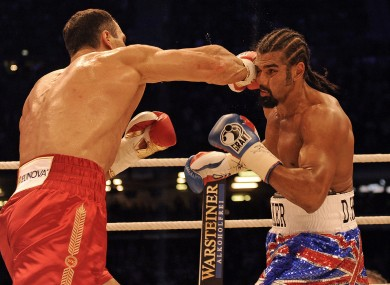 Wladimir Klitschko lands a shot on David Haye in Hamburg.