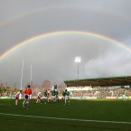 A Double Rainbow appears over the Rotoura International Stadium as Ireland win a line-out against Russia.
