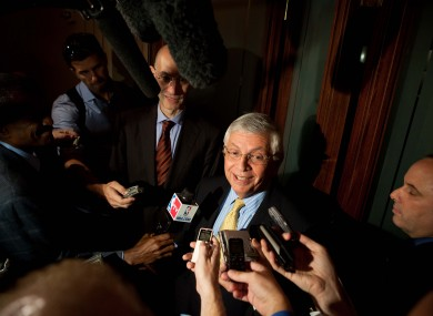 David Stern speaks to the press.
