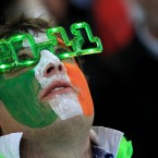 An Ireland fan in the stands.