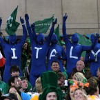 Italy fans in the stands.