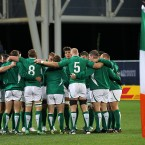 Ireland have a team huddle before the game.