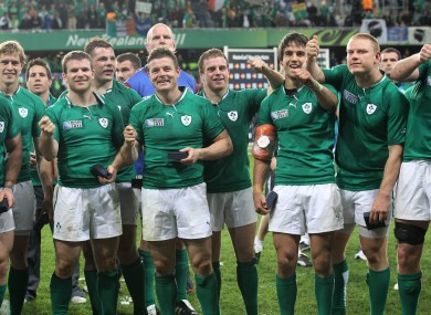 Ireland celebrate their win over Italy.