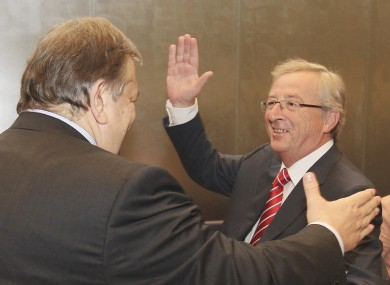 Eurogroup president Jean-Claude Juncker (right) meets Greek finance minister Venizelos in Luxembourg yesterday.