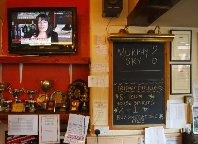 Pub landlady Karen Murphy giving an interview on the television in her pub, The Red White and Blue, in Portsmouth after defeating the Premier League in a bid to show football matches via a foreign TV decoder.
