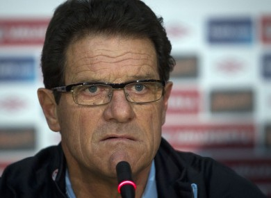 Capello was not happy after the striker was sent off against Montenegro on Friday.