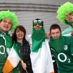 Ireland fans show support for their side ahead of kick off.