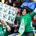 Irish fans show their preference for Tommy Bowe.