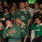 Ireland fans watch the quarter-final against Australia in Kiely's pub, Donnybrook.