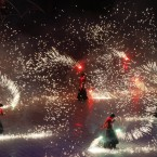 Artists perform during the opening ceremony of the newly reconstructed Olympiyskiy Stadium in Kiev, Ukraine, Saturday, Oct. 8, 2011. The Olympiyskiy national stadium will host the final soccer match of the Euro 2012 tournament. 
