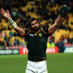 South Africa's Victor Matfield acknowledges the crowd after their quarter-final exit against Australia.
