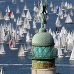 A view of the sail boats taking part in the 43rd edition of the traditional Barcelona regatta in the gulf of Trieste, north-eastern Italy, Sunday, Oct. 9, 2011. 