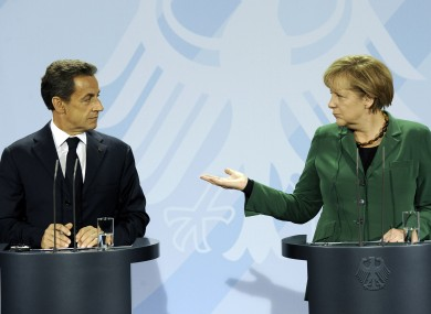 Sarkozy and Merkel in Berlin earlier this month