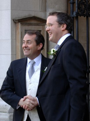 Liam Fox (left) with his best man, A Werritty, at his wedding in 2005. Werritty accompanied Fox on dozens of overseas trips despite having no formal role in his administration.