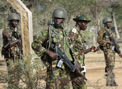Kenyan soldiers patrol along the Somali border yesterday.