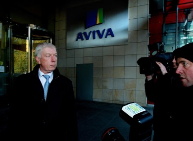 UNITE's Brian Gallagher outside Aviva's offices in Dublin after the 950 jobs cuts were announced this morning.