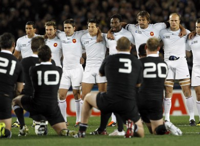 France watch on as New Zealand perform the haka.