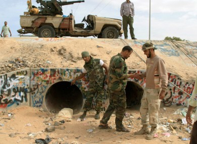A culvert pipe near Sirte where Gaddafi was reportedly hiding when he was captured