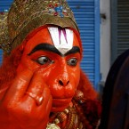 An Indian man dresses up as a monkey god Hanuman to participate in a procession as part of Hindu festival of the Hanuman Jayanti in Allahabad, India, Tuesday, Oct. 25, 2011. (AP Photo/Rajesh Kumar Singh)