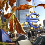 The tents of Occupy Frankfurt activists near the European Central Bank in Frankfurt, Germany, Wednesday, Oct. 26, 2011. (AP Photo/Michael Probst)