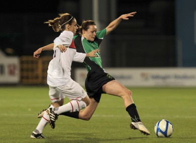 Peamount's Aine O'Gorman clashes with Jessica Houara during the tie's first leg.